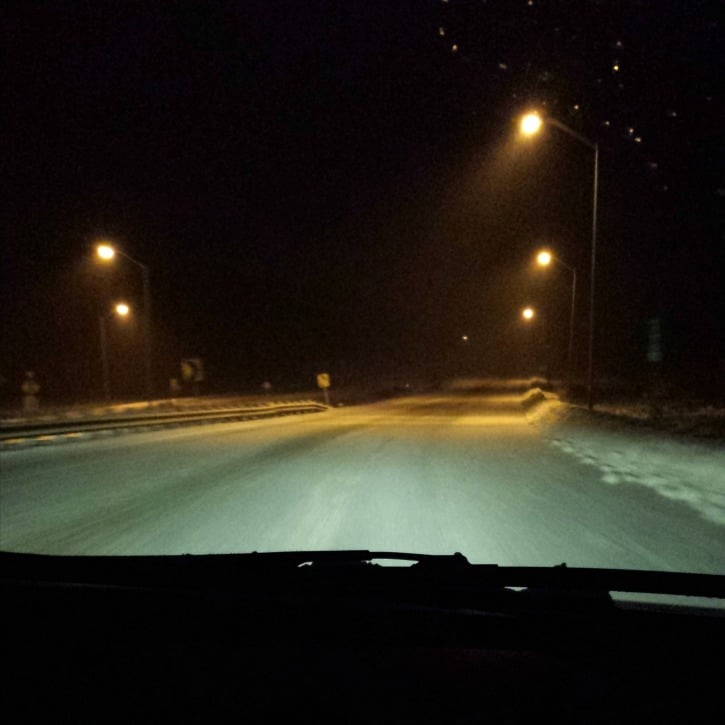 Snowy Ride Home (taken on my phone)