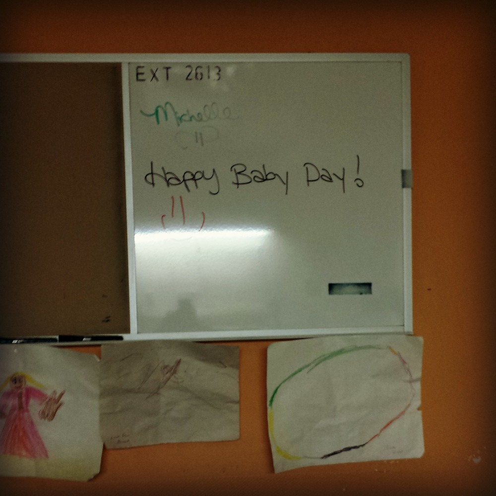 The nurses board in our room, day of delivery!