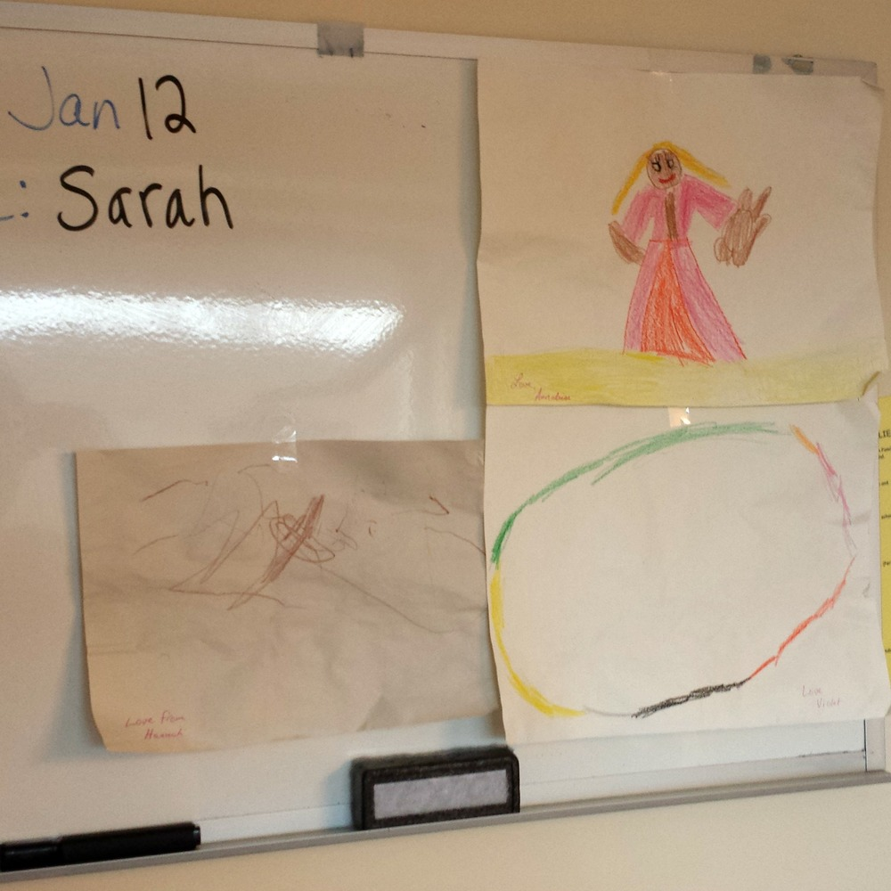 Art the girls sent down for me to display on the board in my room.