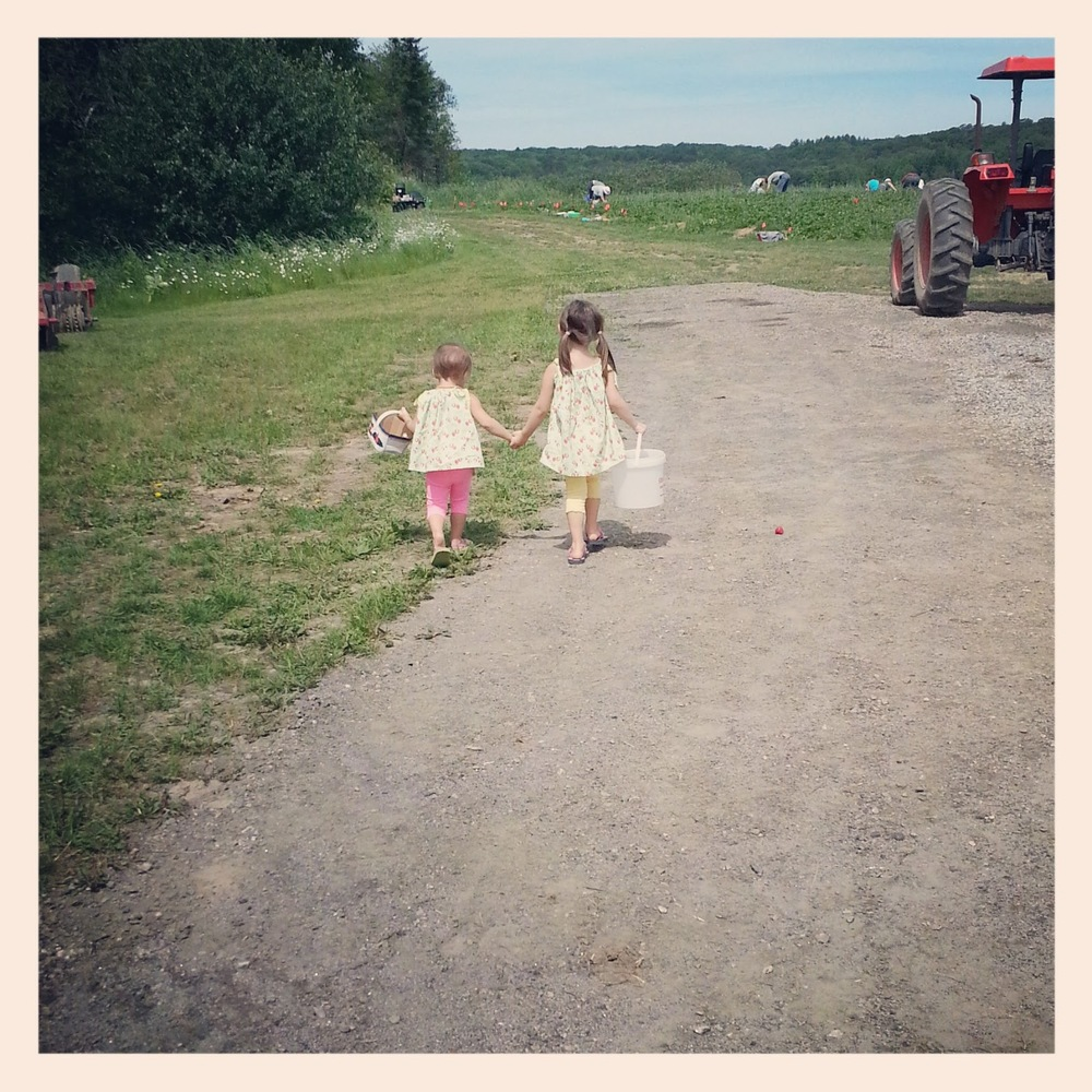 My girls walking to the patch
