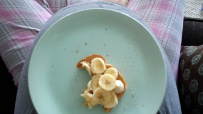 This was my toast on a large sized dinner plate! (Sorry, blurry because I posted directly to fb)